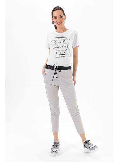 Tiffany&Tomato Bel Düğme Deri Detay Cepli Yüksek Bel Gabardin Pantolon - Vizon Krem